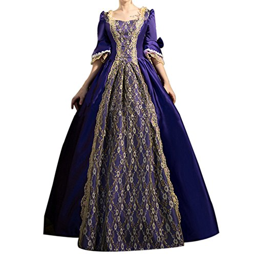 ROLECOS Womens Royal Vintage Medieval Dresses Lady Satin Gothic Masquerade Dress Purple M