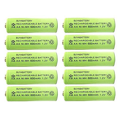 Pack of 10 BuyaBattery UK AA Rechargeable Solar Light Batteries 600mAh 1.2V...