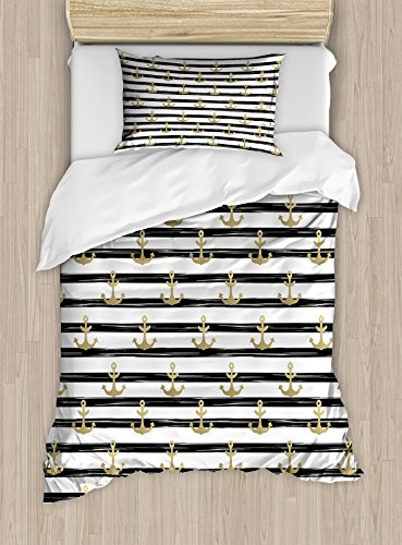 Ambesonne Anchor Duvet Cover Set Twin Size, Horizontal Black Stripes with Nautical Symbols Marine Theme Cruise Ocean Trip, Decorative 2 Piece Bedding Set with 1 Pillow Sham, Black White (Shams Pillows Accessories Bedroom Set)