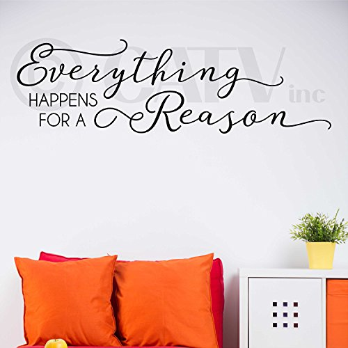 Everything Happens for a Reason Vinyl Lettering Wall Decal Sticker (Black, 10