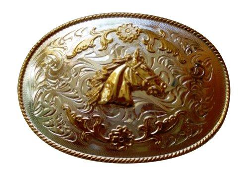 JK Trading Men's Western Horse Giant Belt Buckle One Size Gold Silver