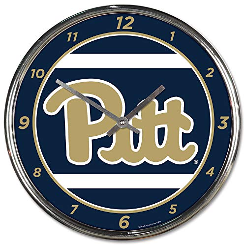 (Wincraft University of Pittsburgh Pitt Panthers Wall Clock Chrome Plated 12 Inches)