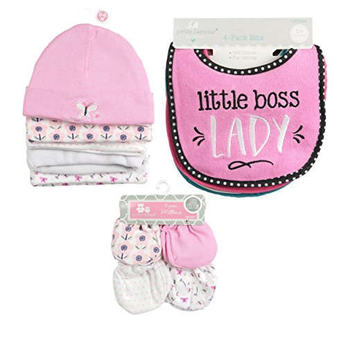 """""""Infant Caps Pink 5-pk, 4 Piece Girl Bib, and 4"""