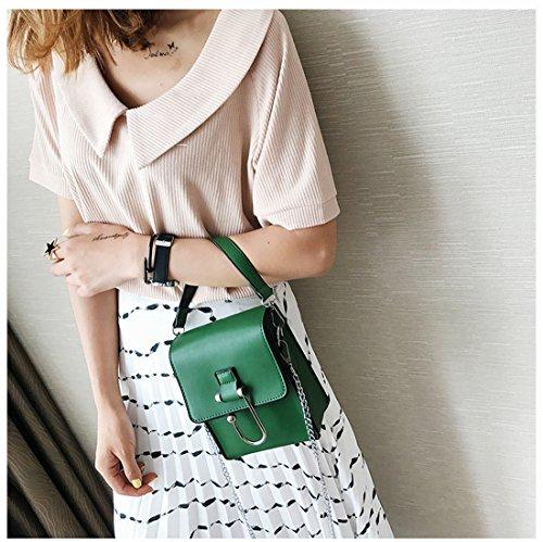 Mujer Pequeño Paquete Cuadrado Simple Cadena de Hombro Bolso Ocio Messenger Bag , Verde