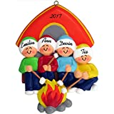 Camping Family Personalized Christmas Ornament (Family of 4) - Handpainted Resin - 4'' Tall - Free Customiztion by Calliope Designs