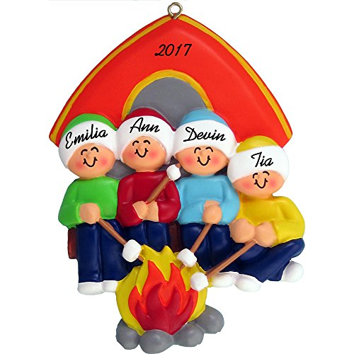 Calliope Designs Camping Family Personalized Christmas Ornament (Family of 4) - Handpainted Resin - 4