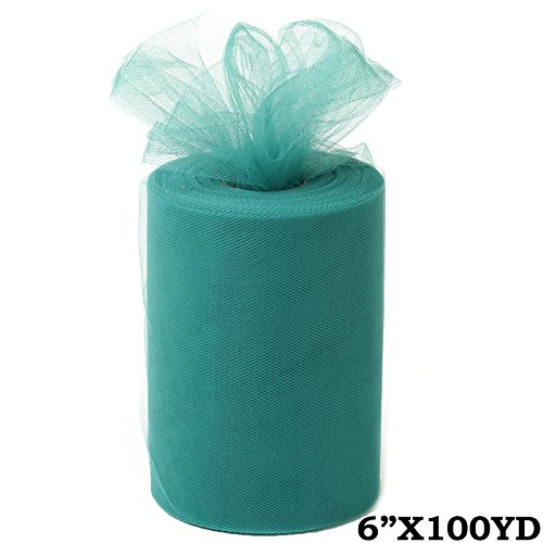 BalsaCircle 6-Inch x 300 feet Hunter Green Net Tulle Fabric Ribbon by The Roll - Wedding Party Favors Decorations DIY Crafts -