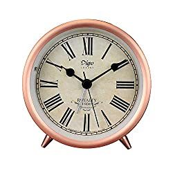 4in Table Clock, Rose Gold Retro Classic Metal Non-Ticking Small Mini Table Alarm Clock Battery Operated Desk Clock with Backlight & HD Glass, for Kids Decor Bedroom (Roman)
