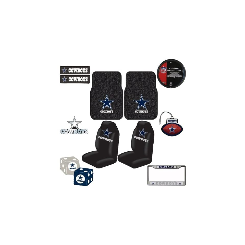 Dallas Cowboys NFL Team Logo Car Truck SUV Front Seat Rubber Floor Mats Universal fit Bucket Seat Covers Steering Wheel Cover Seat Belt Shoulder Pads Chrome Emblem Fuzzy Rear View Mirror Dice License Plate Frame 3 PACK Air Freshener Ultimate Fan Auto Acces