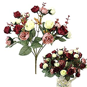 andy cool Premium Quality 1 Bouquet 21 Head Artificial Rose Silk Flower Leaf Home Party Wedding Decor - Red 119