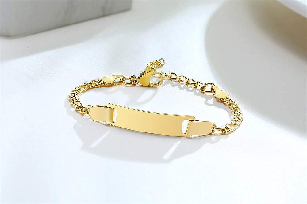 VNOX Custom Engraving Adjustable Stainless Steel Figaro Chain Link Medcial Alert ID Bracelet for Women Girls,6.3-8.2 Inches