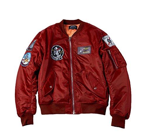 Bomber Quilted Nylon Jacket (AVIDACE Classic Bomber Jacket Men Nylon Quilted with Patches Size S Burgundy)
