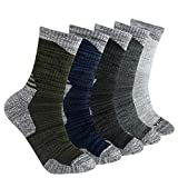 YUEDGE Men's 5 Pairs Wicking Cushion Anti Blister Crew Cotton Socks Outdoor Multi Performance Hiking Trekking Running Walking Business Casual Socks(XL)
