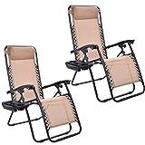 Goplus Zero Gravity Chairs, Lounge Patio, Folding Recliner, Outdoor Yard Beach with Cup Holder, Beige, 2 Piece
