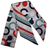 Coach Ashley Op Art Print Ponytail / Neck Scarf Double Sided Multicolor