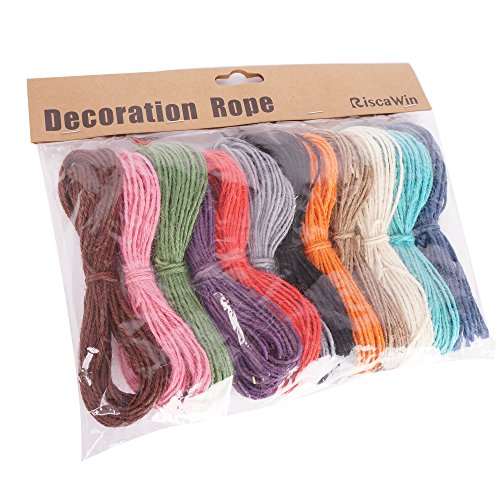Riscawin 11 Yard Rustic Jute Rope 12 Different Colors Twine Hemp String Cord Burlap