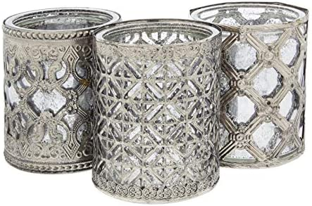 Lucky Winner Set of 3 Antique Style Round Metal and Silver Glass Candle Holder, 4""