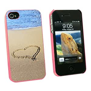 Graphics and More Heart in Sand by Ocean - Love Romantic - Snap On Hard Protective Case for Apple iPhone 5c - Pink - Carrying Case - Non-Retail Packaging - Pink