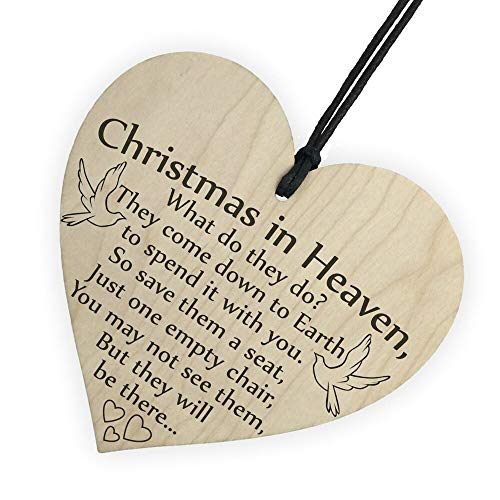 (Home Decoration - Christmas in Heaven Wood Heart Plaque Sign Friendship Home Decoration Ornaments Holiday Gifts Xmas kerstboom decoratie Navidad)
