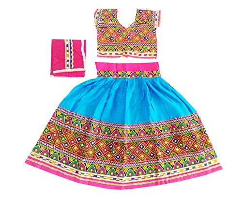 Nandi Women Rayon Indian Traditional Wear Kids Chaniya Choli With Mirror Work Firozi 30
