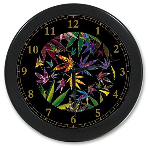 Marijuana Weed Leaf Colorful Custom Wall Clock Quartz 9.65