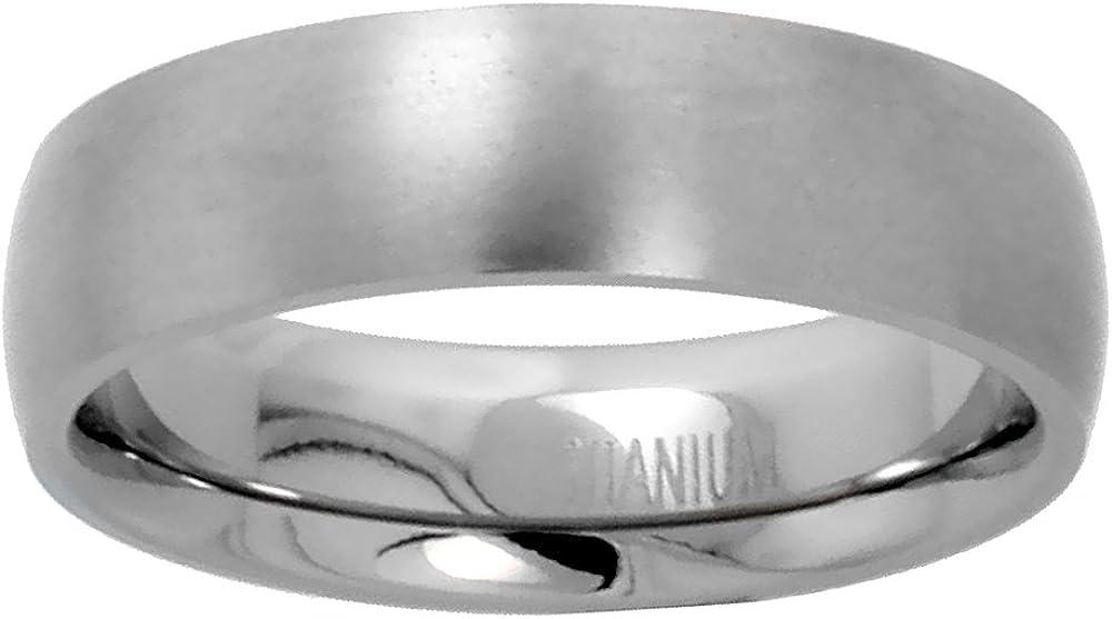 Sabrina Silver 6mm Titanium Plain Wedding Band/Thumb Ring Domed Comfort-Fit Matte Finish 5/16 inch Sizes 5-12
