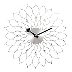 A.Cerco Decorative Metal Analog Wall Clock - 19.5 Silver Sunflower