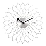"""A.Cerco Decorative Metal Analog Wall Clock - 19.5"""" Silver Sunflower"""