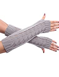 Women's Winter Half-finger Knitted Long Arm Warmers Gloves Mittens (3 Styles to Choose) (Style1-Light grey)
