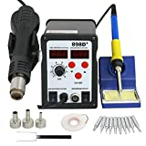 F2C 2 in 1 898D+ Soldering Rework Station SMD Digital Hot Air and Iron Gun Soldering Station Welder Tool 898d+ W/Free Tips (898D+)