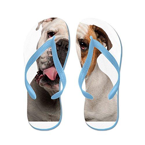 Cafepress Bulldog - Flip Flops, Roliga Rem Sandaler, Strand Sandaler Caribbean Blue