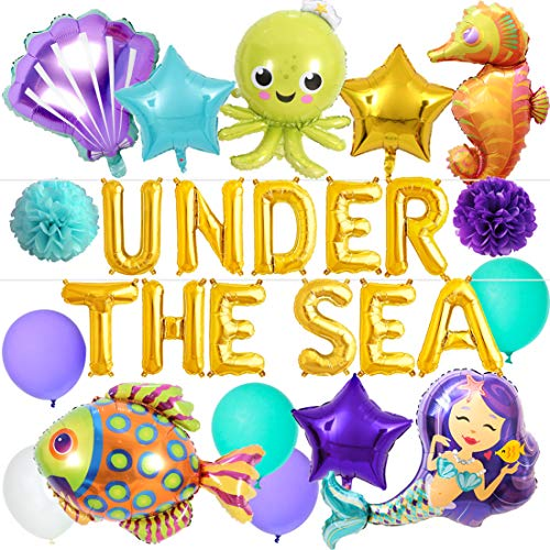 Under the Sea Balloons Party Decorations Under the Sea Animal Balloons Mermaid Balloons for Mermaid Party Decorations Birthday Baby Shower]()