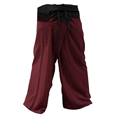 2 Tone Thai Fisherman Pants Yoga Trousers Free Size Cotton Black and Red