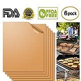 Aquablessing Copper Grill Mat 6 Set 15.75x13''| Non-Stick, Durable, Washable & PFOA Free
