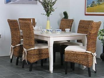 essgruppe esstisch shabby chic tisch massiv + 6 stühle: amazon.de ... - Küchentisch Shabby Chic