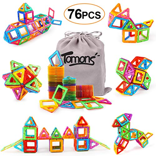 Tomons Magnetic Blocks for Kids, 76 Pcs Magnet Building Tiles Block Construction Toys, Creativity Kids Educational Toys Brain Games for Kids with Guide Booklet for Edutainment Gift ( Carrying Bag) (Best Brain Games For Pc)