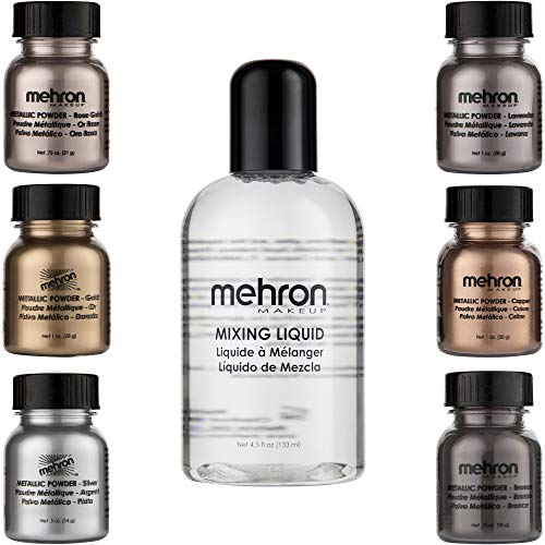 - Mehron Makeup Holiday Shimmer Set (6 Metallic Powders) (Mixing Liquid Included)