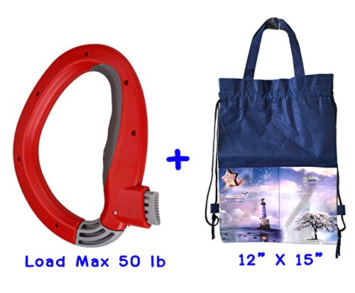 Newest Shopping Bag Handle Carrier -One Grip Trip - Light Weight - Soft Grip Handle – Mighty Handle Capacity 50 lb -with Multi-Purpose Shopping Bag