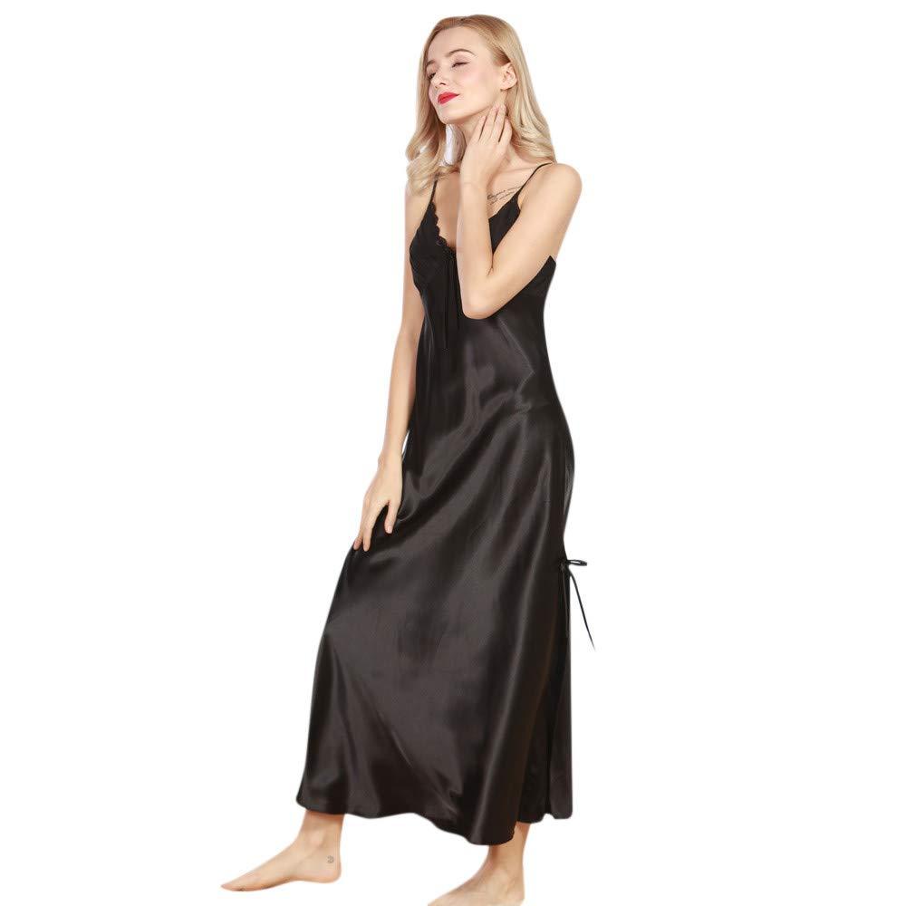 ODJOY-FAN-Biancheria Intima Donne V Neck Abito Robe Camicia da Notte Kimono Dress Vestaglia Donna Elegante Pigiama Raso Corta Camicie Notte per Accappatoio Biancheria Indumenti