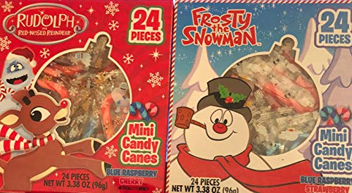 RUDOLPH RED-NOSED REINDEER & FROSTY THE SNOWMAN MINI CANDY CANES 24 PIECES ASST. FLAVORS