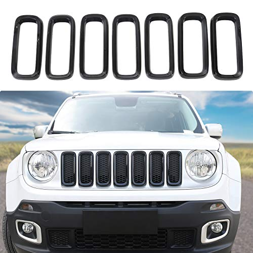 JeCar 7pcs Front Grille Trim Inserts Grill Cover For Jeep Renegade 2015 2016 2017(Black)