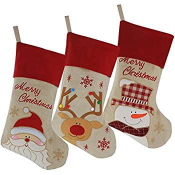 wewill lovely christmas stockings set of 3 santa snowman reindeer xmas character 3d - Xmas Stockings