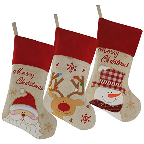 Wewill Lovely Christmas Stockings Set of 3 Santa, Snowman, Reindeer, Xmas Character 3D Plush Linen Hanging Tag Knit Border - Christmas Stockings Order
