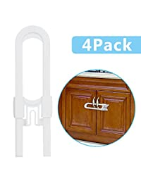 Adoric Life 4-PACK Baby Proofing Sliding Cabinet Locks, U-Shaped Childproof Latches for Kitchen|Storage|Doors|Bathroom|Knobs and Handles-No Drill Needed-White BOBEBE Online Baby Store From New York to Miami and Los Angeles