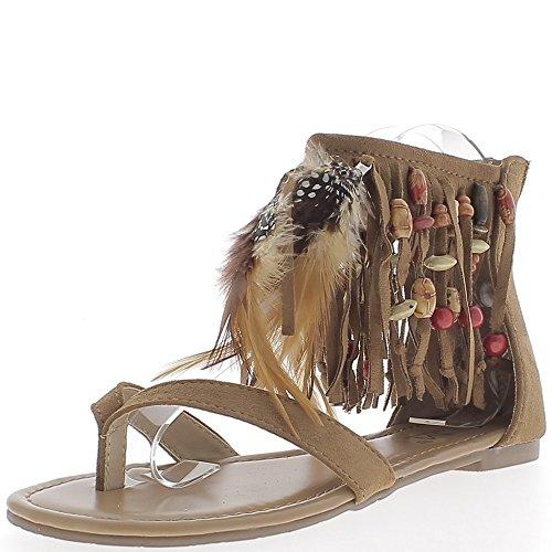 Sandales plates camel look daim avec franges perles et plumes