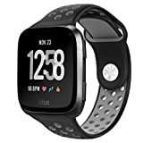#10: NO1seller Top Fitbit Versa Bands for Women Men Small Large, Soft Silicone Sport Strap Replacement with Ventilation Holes for Fitbit Versa Fitness Smart Watch