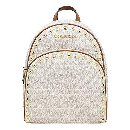 Michael Kors Abbey Jet Set Meadium Studded Leather Backpack Travel Bookbag (Vanilla PVC)