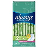 Always Ultra Thin, Size 2, Super Pads With Wings, Scented, 56 Count (Pack of 2) - Packaging May Vary