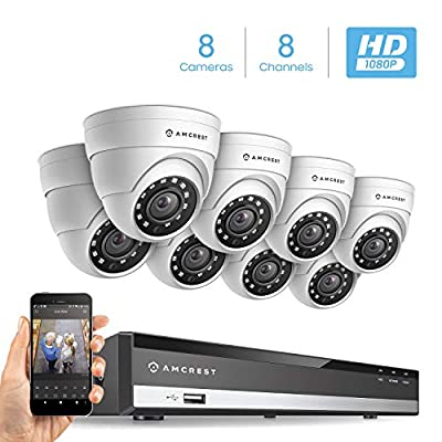 Amcrest Full-HD 1080P 8CH Video Security System w/Eight 2.0MP (1920TVL) Outdoor IP67 Dome Cameras, 66ft Night Vision, Hard Drive Not Included, (AMDV10818-8D-W) from Amcrest