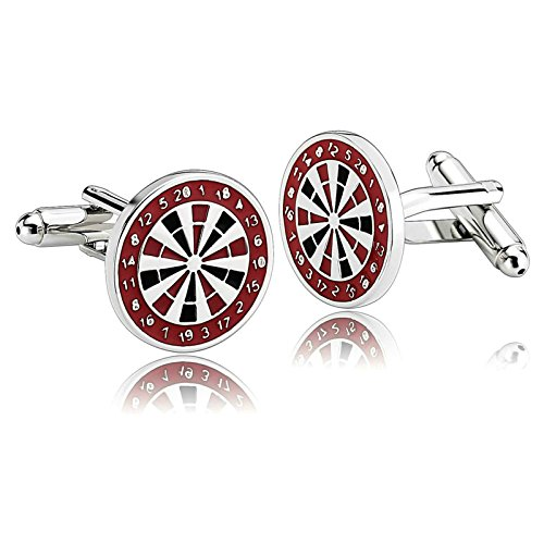 Aooaz Mens Cufflinks Stainless Steel Dart Board Paint Series Circle Shirt Black Red Suit Xmas Gift Box (Design Cufflinks Circle Pearl)